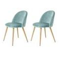 Chaises à manger - <p>2 chaises de salle à manger - Métal imprimé bois - Velours turquoise - Scandinave</p> <p>Dimensions : L 46 x P 50 cm</p> <p></p>