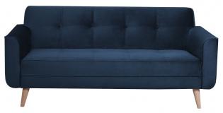 Canapé en velours bleu foncé - <p>Dimensions : L176 x P85 x H84 cm</p> <p>Fabrication française</p> <p>Existe également en : Vert bouteille, Moutarde, Bleu gris, gris</p>