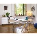 Table à manger - <p>Table à manger extensible 6 à 8 personnes, style vintage mélaminée décor chêne</p> <p>Dimensions : L 174 x l 90 cm</p>