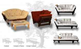 Canapé lit Sole - En  pin massif le canapé Sole offre 3 positions : classique avec ses acoudoirs relevés, méridienne avec un accoudoir abaissé ou bien lit à une place en abaissant simplement les deux accoudoirs. Disponible en 3 modèles: fauteuil, canapé 2 place ou canapé 3 places. L