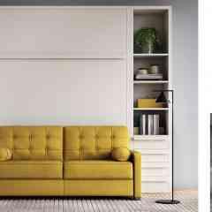 Armoire-canapé-lit Charleston - <p>Lit escamotable avec canapé et meubles présentés en blanc, mais entièrement personnalisable à la carte selon le style de votre intérieur. Système assisté unique et facile pour l'ouverture et la fermeture, sans enlever les coussins d'assises et du dossier</p>