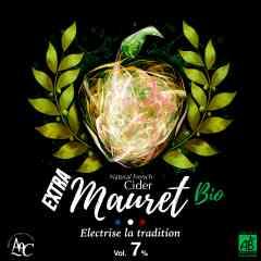 Extra Mauret Bio - L'Extra Mauret Bio est composé d'une seule variété de pommes à cidre. Ces pommes sont certifiées issues de l'agriculture biologique. Plus fort que son petit-frère le Cidre Mauret, il monte à 6,6° d'alcool. Son goût est donc plus fort et plus brut en bouche que son comparse.