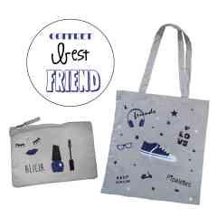 Coffret Best friend - Trousse et tote bag pailletés personnalisables