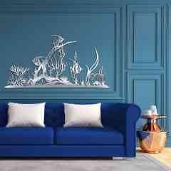 """poissons et coraux - Création murale originale en métal inox brossé à la main (INDOOR). Cette décoration artistique est """" MADE IN FRANCE """" (entièrement réalisé dans le sud de la France)"""