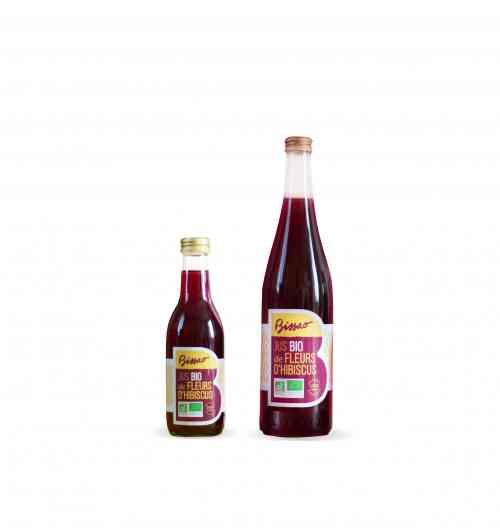 Jus bio de fleurs d'hibiscus 75cl - Boisson à base d'infusion d'hibiscus aux arômes naturels de menthe verte et de vanille