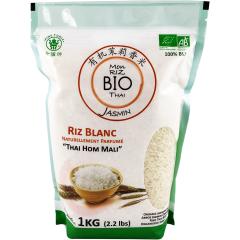 """Mon Riz Blanc Thai BIO - Plus qu'important, le riz est fondamental dans la cuisine asiatique. C'est l'élément essentiel et il doit être parfait. C'est pour cette raison que nous avons sélectionné le meilleur pour vous.  Le riz """"Thai Hom Mali"""" est un grain long, naturellement parfumé, et cultivé dans le plus grand soin dans la région nord de Thailande. Ce riz accompagnera parfaitement tous vos plats asiatiques."""