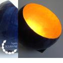 Lampe à poser or et bleu en papier recyclé