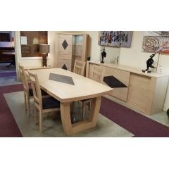 """COLLECTION """"NAXOS"""" - Salle à manger en CHENE ou FRENE massif. Table avec 4 allonges pouvant s'ouvrir à 4m30. 20 personnes."""