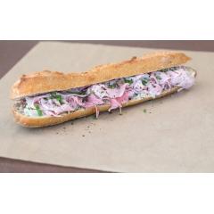 Sandwich Parisien - Baguette tradition , Jambon artisanal Prince de Paris, Beurre fermier demi sel, Ciboulette fraiche