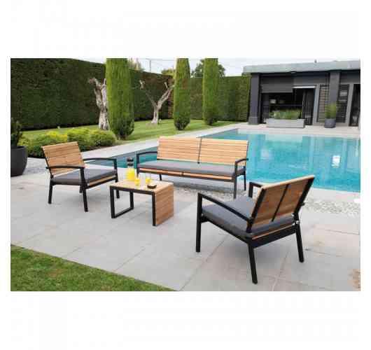 SET LOUNGE ROCHA BLACK/TECK - <p>Châssis aluminium Epoxy coloris Black.</p> <p>Assise et dossier en Teck FSC.</p> <p>Coussins et assises en Acrylique inclus.</p> <p>Ce set comprend 1 canapé, une table et 2 fauteuils.</p>