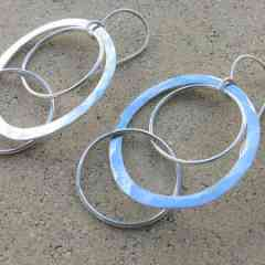 Boucles d'oreilles OLYMPIA - Boucles en Argent 925/1000 polie et martelées