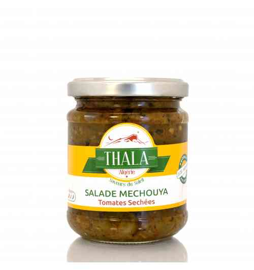 Salade Mechouya - <p>La Salade Mechou&iuml;a a¿ la tomate se¿che¿e est une spe¿cialite¿ me¿diterrane¿enne. Thala la produit de manie¿re artisanale avec des ingre¿dients naturels se¿lectionne¿s aupre¿s d'agriculteurs Alge¿riens. Nos salades Mechou&iuml;a sont pre¿pare¿es avec des poivrons cuits au feu de bois et pele¿s minutieusement.</p> <p></p> <p></p>