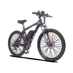 """Vélo Electrique VTT CRZ Black Série - Un VTT de la marque CRZ by VG-Bikes robuste et puissant grâce à son système électrique et à sa transmission haut de gamme. Un des meilleurs rapports qualité-prix sur le marché.                                                                                                                                                                                                                                      Batterie Panasonic Lithium-Ion 36V 13Ah. Cette batterie dispose des nouvelles cellules Panasonic. Ce nouveau développement permet d'accroître l'autonomie et de dépasser les 470Wh. Cette batterie offre une grande autonomie (105km) et est couplée à un moteur roue arrière de 250Wh. La puissance devient alors incomparable sur ce modèle de VTT sport. Un cadre entièrement en aluminium qui le rend plus léger tout en étant particulièrement robuste pour les sorties sportives. Avec un poids total de moins de 20kg (19,6kg), la partie électrique est discrète grâce à son positionnement central. Sa fourche Suntour XCT est idéale pour une utilisation tout terrain. Son dérailleur Shimano Altus propose une palette de 7 Vitesses sur un triple plateau. Son ordinateur de bord grand écran de 4"""" rétroéclairé avec commande déportée et sa gâchette d'aide au démarrage vous permettront de contrôler facilement tous vos déplacements.  CRZ by VG-Bikes vous offre une garantie de 5 ans sur son cadre et de 2 ans sur les pièces détachées et partie électrique."""