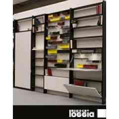 REVELIO - BIBLIOTHEQUES - Programme mural d'étagères modulables et de meubles rabattables : tables, secrétaires, bibliothèques...