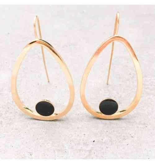 Boucles d'oreilles GOUTTES - plaqué or et émail