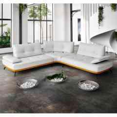 Canapé BOGART - Dessiné pour votre bien-être. Courbes douces soulignés par des coutures décoratives. Profondeur d'assise réglable et accoudoirs relevables.