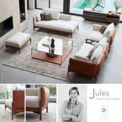 JULES - <p>La gamme JULES imaginée par Charlotte JUILLARD pour la Maison Duvivier Canapés affirme une ligne très aérienne et élégante avec sa structure en bois massif volontairement apparente et surélevée.</p> <p>Totalement composable, JULES se décline dans toutes les versions : canapés, demi- canapés, fauteuils, demi-fauteuil, angle, méridienne, pouf, tables basses ... le tout en 2 profondeurs d'assise.</p> <p>Elle s'adapte ainsi à tous les intérieurs, besoins et envies.</p>
