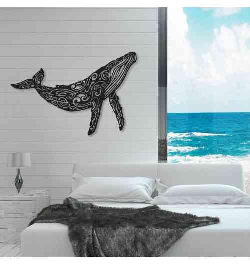 """Baleine à bosse - Création murale originale en métal acier thermolaqué (INDOOR/OUTDOOR). Cette décoration artistique est """" MADE IN FRANCE """" (entièrement réalisé dans le sud de la France)"""