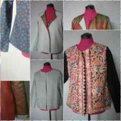 Veste avec ou sans poche - Exterieur: soie ou coton ou tissu de laine. Interieur soie