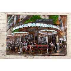 Plaque Métal Café De Flore - Plaque métal décorative représentant la devanture du Café De Flore