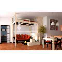 MEZZANINE  ELECTRIQUE - Mezzanine réglable en hauteur en hêtre massif lamellé de dimensions standard ou sur mesure