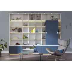 CHATILLON - Bibliothèque finition satiné blanc et bleu grisé