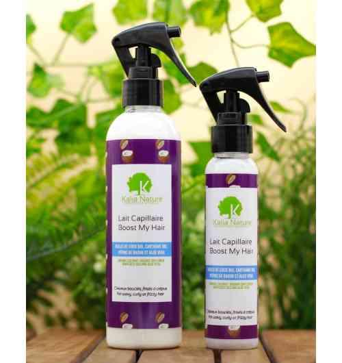 Lait Capillaire BOOST MY HAIR - Ce lait de soin à l'huile de Coco Bio, huile de Carthame et Pépins de raisin s'applique directement sur les cheveux secs en commençant par la pointe des cheveux, jusqu'à la racine. idéal pour le démêlage des cheveux sec (crépus ou défrisés), ou pour l'entretien quotidien des cheveux (hydratation). Vos cheveux seront plus souples et facile à coiffer...  Existe en 2 formats 100ml et 250ml.