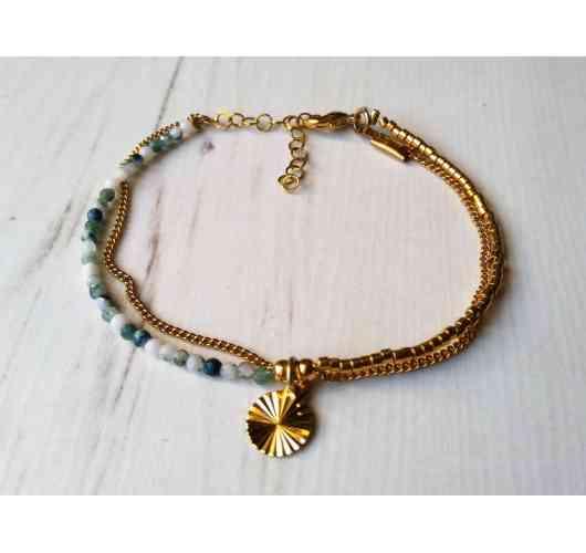 Bracelet double Agate miyuki - Bracelet double chaîne en perles d agate et miyuki doré sur plaqué Or