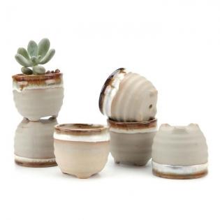Pots en céramique - <p>Petits pots de fleur en céramique (6 pieces )</p> <p>Dimensions:6x6x5.5cm</p>