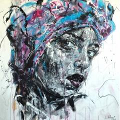 SENSE OF SELF - Acrylique & fusain sur toile 150x150cm