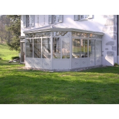 veranda victorienne - véranda en structure aluminium laqué à rupture de pont thermique  de forme victorienne
