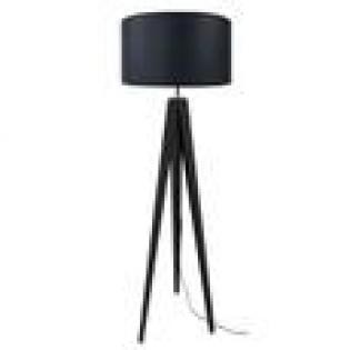 Lampadaire Trépied - <p>Lampadaire trépied en hêtre massif et métal avec abat-jour cylindrique en coton de coloris noir fonctionnant avec une ampoule halogène. Type de culot : E27. Puissance : 60W. Avec son style scandinave, ce lampadaire embellira votre intérieur.</p> <p>Trépied : 50x163cm abat-jour : 45x45x30cm.</p>