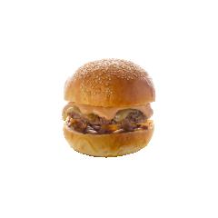 BURGER SAVOYARD - Steak haché (viande française) Tomme de Savoie Confit d'oignons Sauce du chef