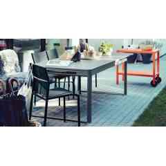 Fauteuil bas CADIZ / table BEBOP - FERMOB - Nouveau fauteuil bas CADIZ disponible dans 5 coloris. Table basse BEBOP gigogne, ronde, carrée ou rectangle. Disponible aussi dans les 24 coloris de FERMOB.