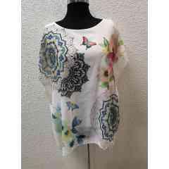 Blouse manches courtes motif floral