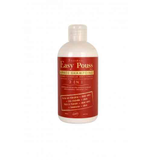 Après-shampoing hydratant et fortifiant - Il apporte aux cheveux douceur et souplesse avec une hydratation profonde. Il contient de fortes propriétés revitalisantes et fortifiantes. Il traite et répare les cheveux intensément grâce à son complexe actif à base de kératine naturelle, aloe vera, cire d'abeille et olive. Il permet de ralentir considérablement la chute des cheveux, mais aussi d'accélérer leur croissance. C'est le parfait complément de l'élixir de croissance et du shampoing.