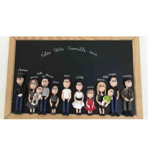 Tableau de famille - Ardoise avec figurines en pâte polymère personnalisés
