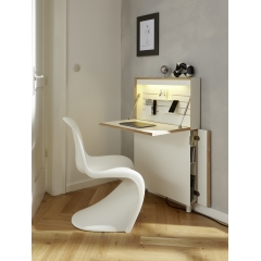 Flatmate - <p>Due to its slim depth and minimalist design, FLATMATE transforms spaces that are unsuitable for conventional furniture into home offices. The unconventionally designed bureau transforms long-standing old buildings into a home office if required, offers a place to write letters in the bedroom or serves as a temporary workplace in the weekend house.</p>