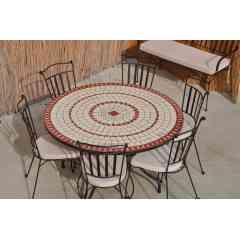 Table mosaïque - Mobilier intérieur/extérieur en mosaïque et fer forgé. Tables en terre cuite ou céramique beige, rouge, bleue ou verte. Tables rectangulaires, rondes, ovales et carrées pour 2 à 12 personnes.