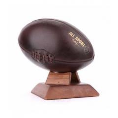 BALLON DE RUGBY VINTAGE - Reproduction à l'identique de ballon de rugby des années 30, en cuir et fait à la main