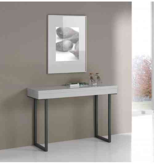 Console Extensible Quattro pieds métal - Console transformable en table de salle à manger pour 8 - 10 couverts