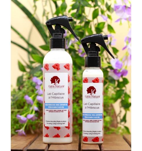 Lait Capillaire à l'Hibiscus - L'importance de l'hydratation quotidienne des cheveux : Juste après le shampoing ou bien au quotidien, le Lait Capillaire à l'Hibiscus est votre allié pour une hydratation optimale et stimuler la pousse de vos cheveux.  Avec des ingrédients naturels qui favorisent l'hydratation et la vitalité de vos cheveux, ce lait s'avère très efficace pour entretenir la souplesse et la brillance naturelle de vos cheveux bouclés crépus ou frisés.  Formulé avec de l'huile d'Hibiscus, Yangu, Pépins de raisin et Carthame, c'est un soin ultra-doux et efficace pour vos cheveux naturels, mais aussi de l'Aloé vera et de la Glycérine Végétale.  Il est très important pour avoir et garder de beaux cheveux de les hydrater TOUS LES JOURS sans exception !  Convient à  toutes les porosités.