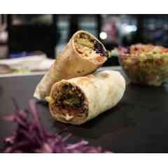 Le Libanais - Wraps XXL chaud et vegan : Falaffel maison, humus maison, aubergine, choux rouge mariné, salade, tomate