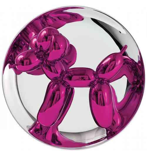 Balloon Dog Magenta - Porcelaine émaillée sur assiette chromée, édition de 2300 ex.