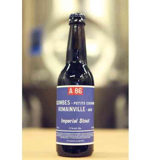 A86 - Première bière noire de la brasserie, notre Imperial Stout vaut le détour. Doté d'une mousse onctueuse, elle a des arômes de torréfaction tirant sur le café…Si vous voulez goûter du bitume, prenez l'A86 !