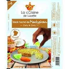 STEAK MACHOIRAN BLANC CURRY COCO - Steak de poisson cuit, surgelé, composé de Machoiran blanc, d'épices curry et de noix de coco rapée, sans colorant et sans conservateur.