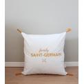coussin brodé velours premium blanc - broderie dorée Famili Saint Germain