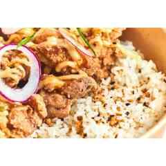 RICEBOWL Poulet - Riz japonais, poulet frit à la japonaise, sauce soja et mayonnaise maison, oignons rouge & coriandre