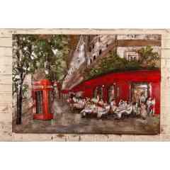 Plaque Métal Brasserie - Plaque métal décorative représentant la devanture d'une Brasserie