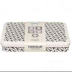 BOITE DE 60 NAPOLITAINS VILLE DE PARIS - <p>Boîte en métal au motif Tour Eiffel garnie de 60 carrés de chocolat noir pure origine Ghana, cacao 70% minimum</p> <p>Poids 240g</p>